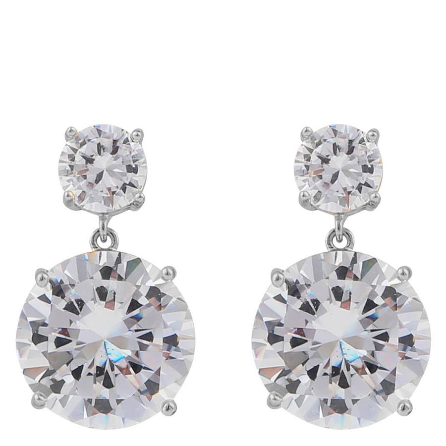 Snö Of Sweden Duo Pendant Earring Silver/Clear