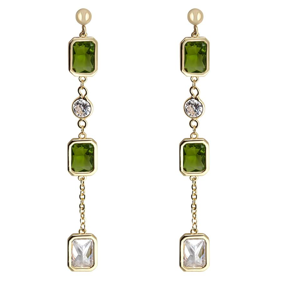 Snö of Sweden Twice Long Earring Gold/Olive 66mm