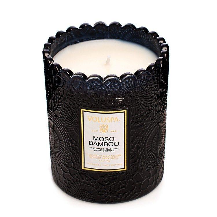 Voluspa Moso Bamboo Embossed Glass Scalloped Edge Candle 176g