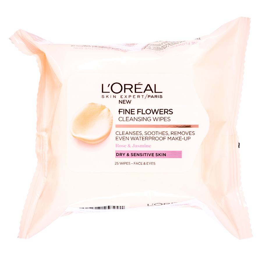 L'Oréal Paris Fine Flower Cleansing Wipes Dry To Sensitive 25wipes