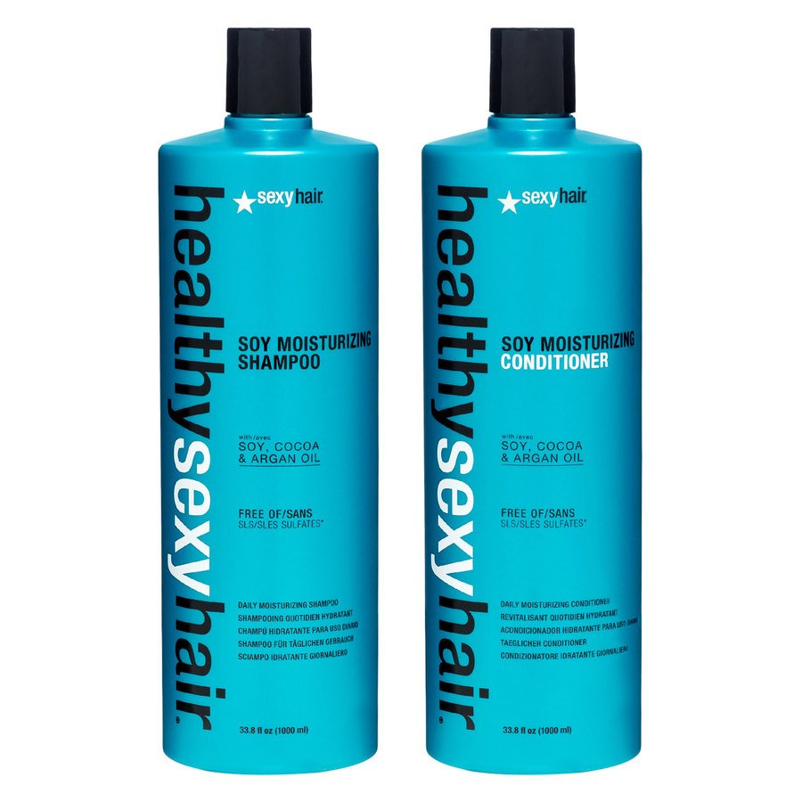 Healthy Sexy Hair Color Safe Soy Moisturizing Shampoo og Balsam 2 x 1000ml (Duo)
