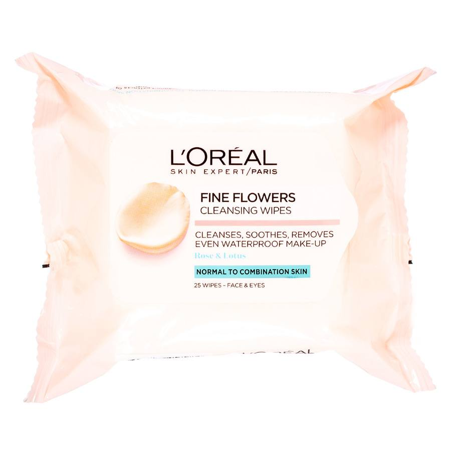 L'Oréal Paris Fine Flower Cleansing Wipes Normal To Combination 25wipes